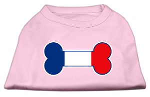 Bone Shaped France Flag Screen Print Shirts Light Pink S (10)